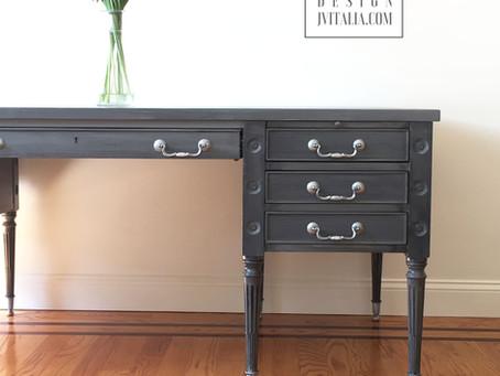 Slate Gray Hand Painted Partners Desk
