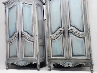 FRENCH TWINS ANTIQUE ARMOIRES
