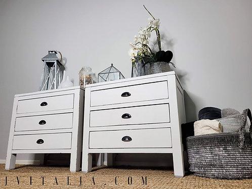 White coastal farmhouse nightstands