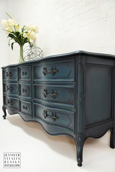 French Painted Dresser French Blue Painted dresser sideboard Jennifer Vitalia Design