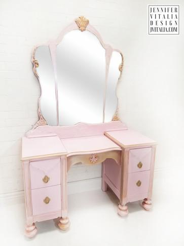 Antique Makeup Vanity Pink and Gold  - Jennifer  Vitalia Design