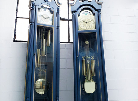 Hand Painted Custom Grandfather Clocks- Blue and Gold Howard Miller.