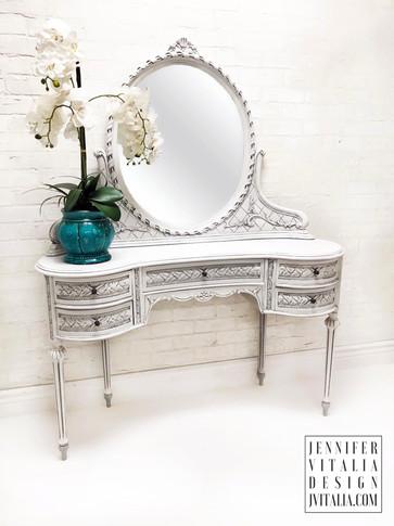 teal make up vanity kidney shaped antique jennifer vitalia design