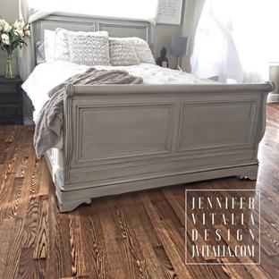 Jennifer Vitalia Design Top Furniture Artist Painted Sliegh Bed Gray