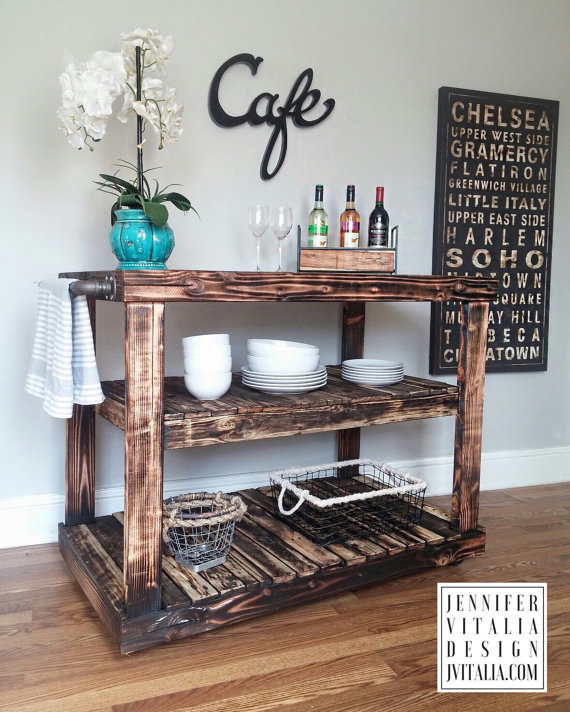 jennifer vitalia design - reclaimed wood kitchen island kart