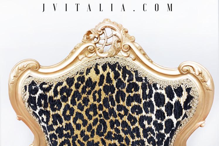 antique gold animal print chair
