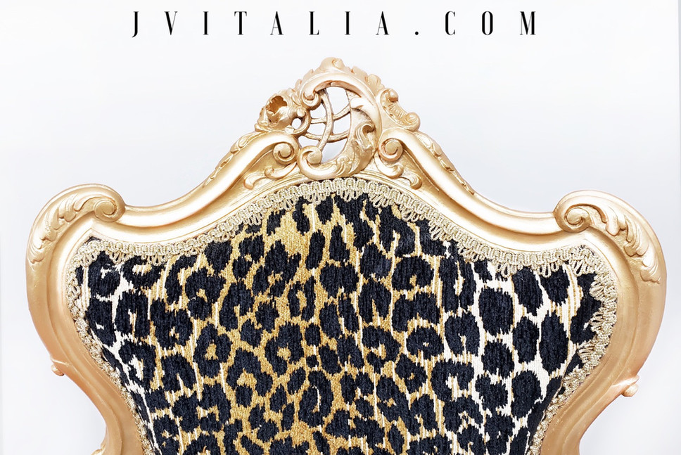 antique gold animal print chair