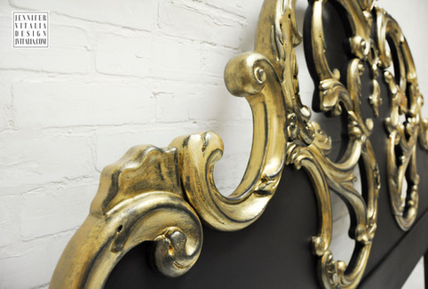 Luxury Furniture Jennifer VItalia Design Gold and Black Rococo Headboard