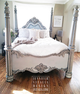 Jennifer Vitalia Design Top Furniture Artist Painted Poster Bed Gray