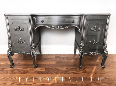 FRENCH PAINTED MAKEUP VANITY - JENNIFER VITALIA DESIGN Metallic Painted Vanity