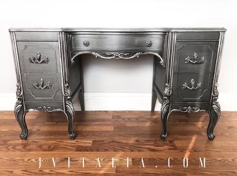 FRENCH PAINTED MAKEUP VANITY - JENNIFER VITALIA DESIGN Metallic Painted Vanity