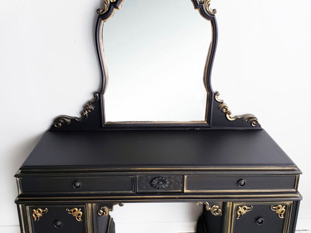 MATTE BLACK MAKEUP VANITY WITH GOLD ACCENTS