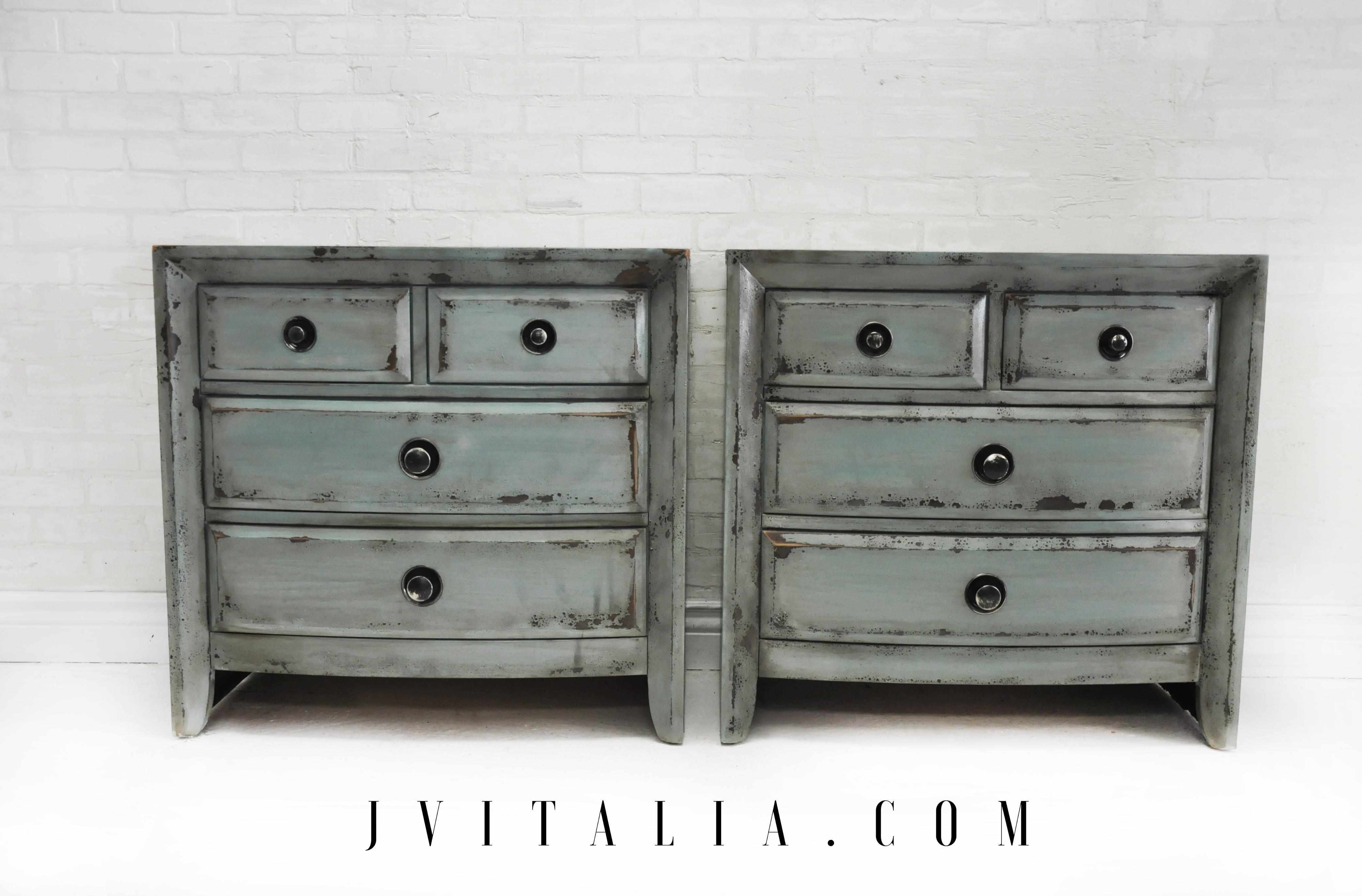 teal painted nightstands  Jennifer V