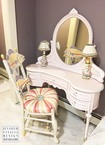 antique painted make up vanity - Jennifer Vitalia Design