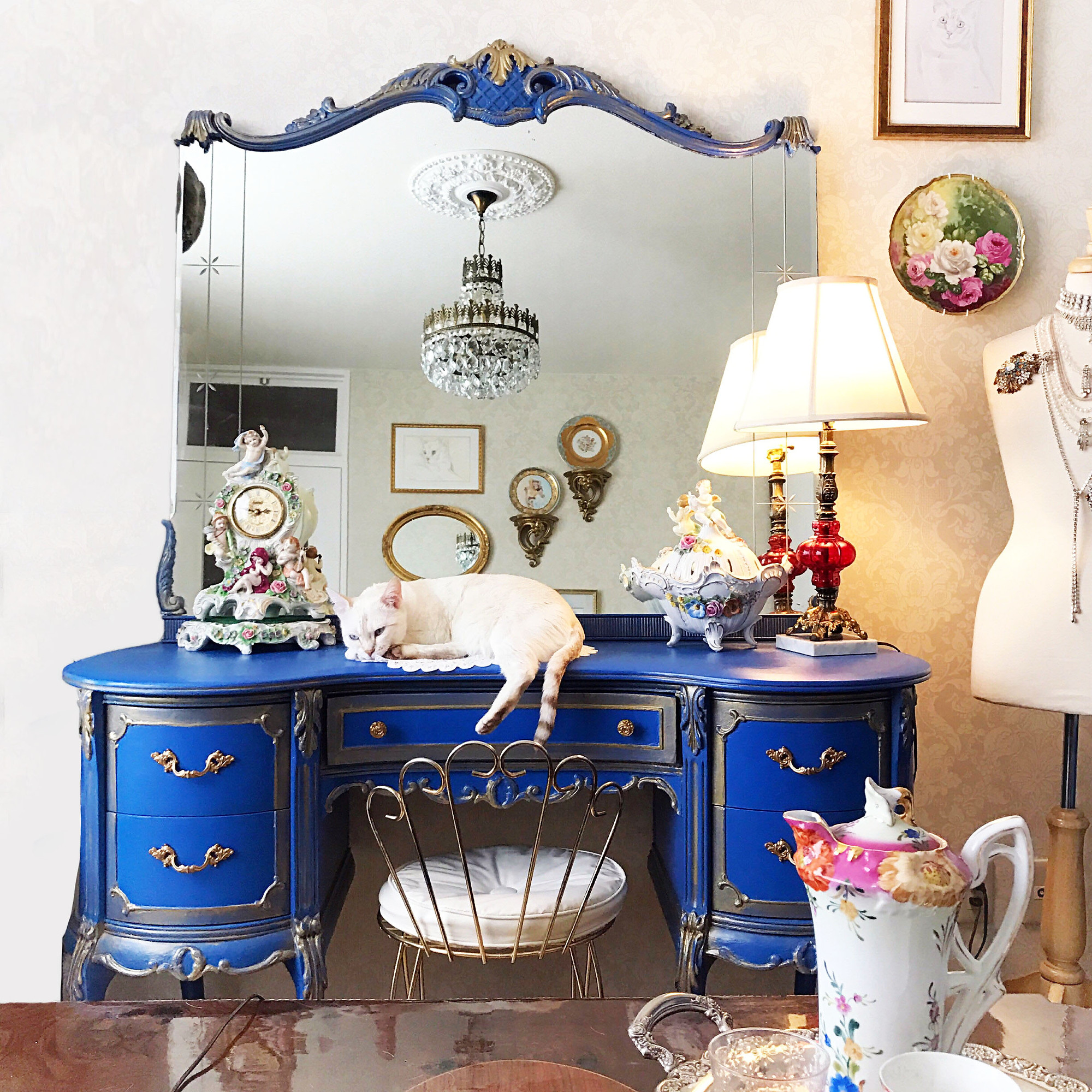 French Royal Blue And Gold Hand Painted Makeup Vanity