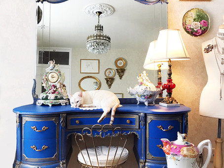 French Royal Blue and Gold Hand Painted Make Up Vanity