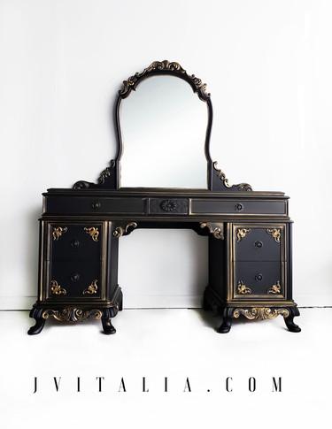 FRENCH PAINTED MAKEUP VANITY - JENNIFER VITALIA DESIGN Black Mack Up Vanity