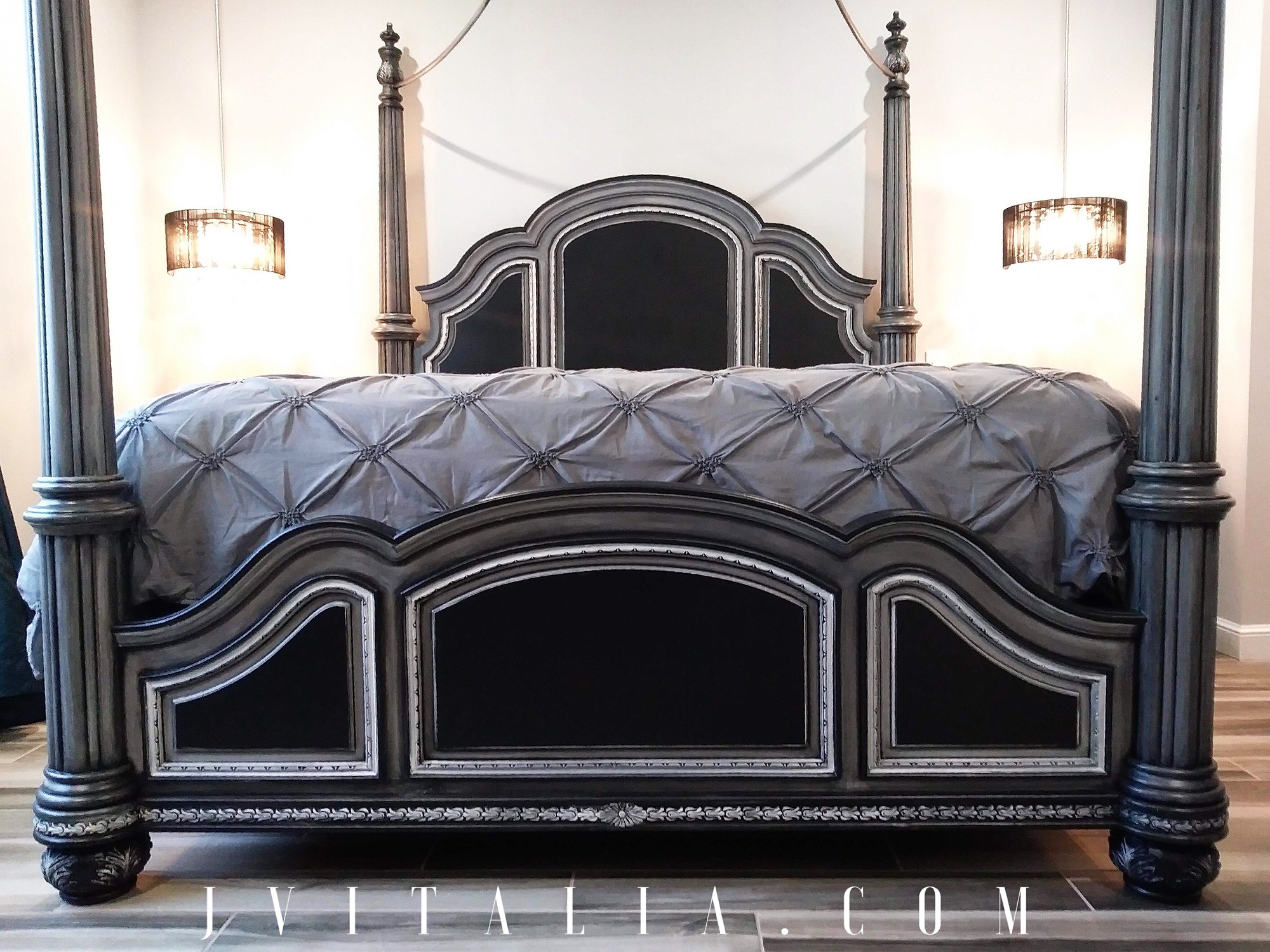 Black And Gray Hand Painted Poster Bed