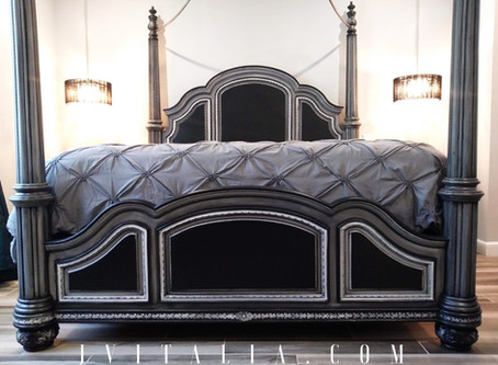 Black and Gray Hand Painted Bed