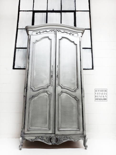 silver French armoire Jennifer Vitalia D