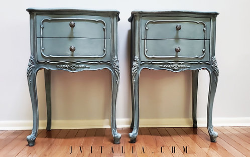 French Teal Antique Nightstands