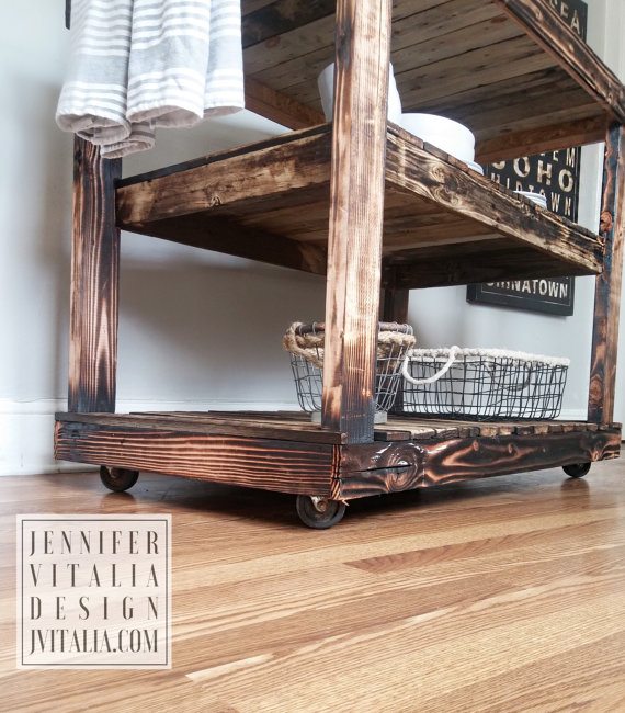 jennifer vitalia design - reclaimed wood kitchen island on caster wheels