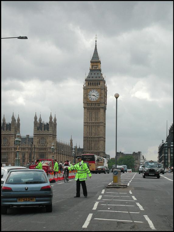 Roadside traffic survey near big ben in London