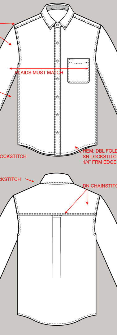 CAD Illustration - Men's dress shirt with call-outs