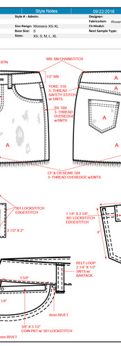 CAD Illustration - Denim skirt with call-outs