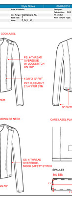 CAD Illustration - Knit jacket with call-outs