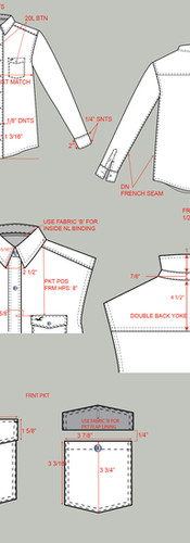 CAD Illustration - Dress shirt with call-outs