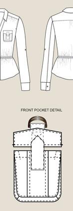CAD Illustration - Blouse with pocket detail