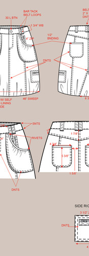 CAD Illustration - Bubble hem denim skirt with call-outs