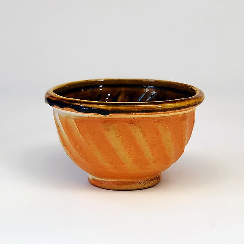 TENMOKU GLAZED INTERIOR WOOD FIRED BOWL