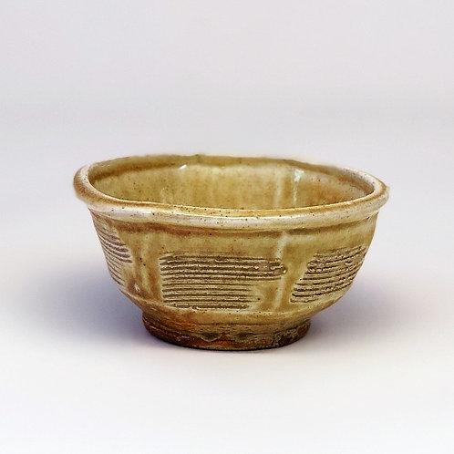 Wood Ash Glazed, Faceted Soup Bowl