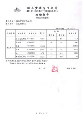 識昌再生燃料油檢測報告