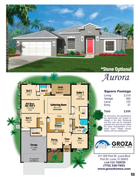 Aurora Floorplan, Groza Builders Inc