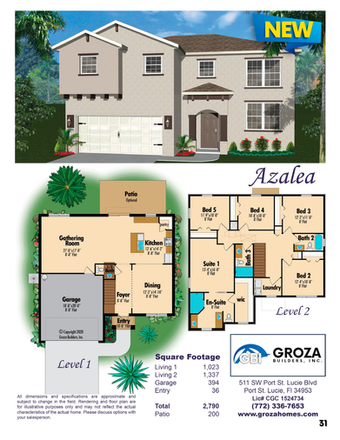 Azalea Floorplan, Groza Builders Inc