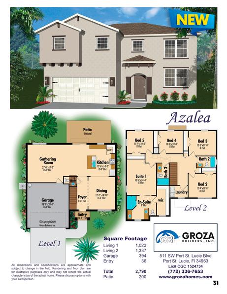 Azalea Floorplan, Groza Builders Inc