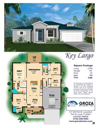 Key Largo Floor Plan, Groza Builders Inc.