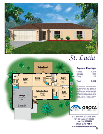 St. Lucia Floor Plan, Groza Builders Inc.