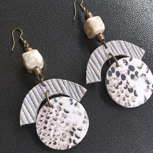 Geo Shape Beaded Leather Earrings