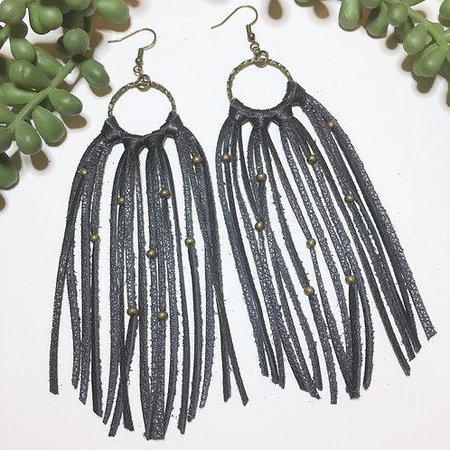 Black studded fringe