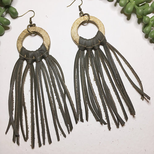 Olive fringe on coconut wood hoops