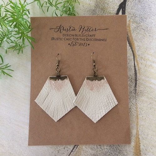 Bone Fringe Leather Earrings with Gold