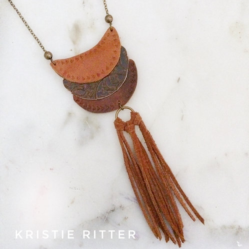 Boho tassel Leather Necklace