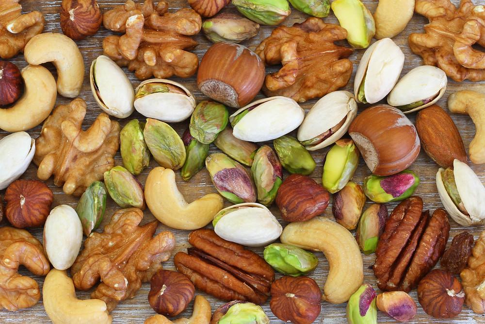 Almonds, cashews, walnuts