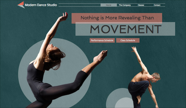 Podiumkunsten website templates – Moderne dansstudio