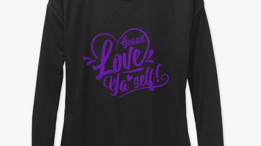 Geaux Love Ya'Self Long Sleeved Tee Black with Purple