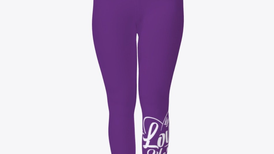 Geaux Love Ya'Self Tights Purple with White